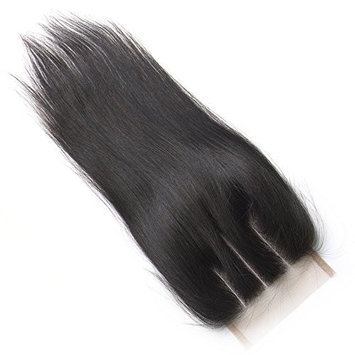 ZM Hair Lace Closure 4x4 Silk Straight Natural Black Brazilian Hair 3 Way Part Swiss Lace top Closure(8 inch)