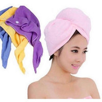 3 Pack Hair Towel Wrap, Turban Microfiber Drying Bath Shower Head Towel with button, Quick Magic Dryer, Dry Hair Hat, Wrapped Bath Cap by AgapeMe, (Yellow, Pink, Purple)