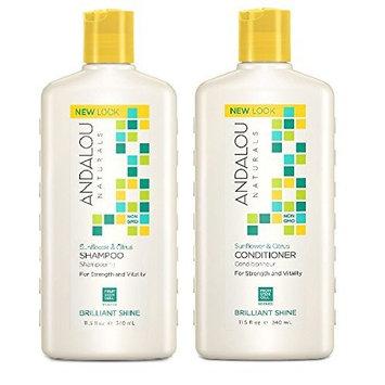 Andalou Naturals Sunflower & Citrus Brilliant Shine Shampoo and Conditioner Bundle, 100% Sulfate Free and Color Safe, 11.5 fl oz each