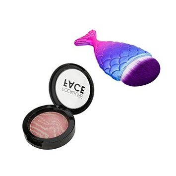 MagiDeal Cosmetic Shimmer Blusher Face Bronzer Powder Pan + Mermaid Tail Contour Makeup Powder Blush Brush Kit