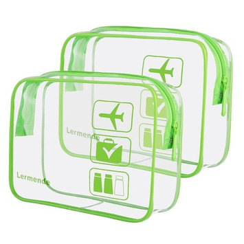 2pcs/pack Lermende Clear Toiletry Bag TSA Approved Travel Carry On Airport Airline Quart Sized 3-1-1 Compliant Bag Make-up Pouch Kit