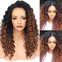 PlatinumHair #1B30 Ombre Kinky Curly Wigs Synthetic Lace Front Wig Heat Resistant For Black Women 22Inch