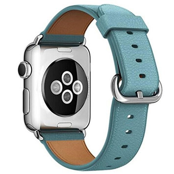 AutumnFall Genuine Leather Band [Handmade Vintage] Style Strap [With Adapters] for Apple Watch Series 1, Series 2 38mm (Light Blue)
