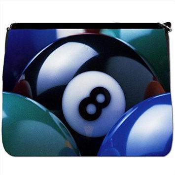 Eight Ball In Corner Pocket Black Large Messenger School Bag [Eight Ball In Corner Pocket]