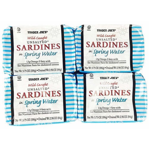 Trader Joe's Wild Caught Unsalted Sardines in Spring Water 4 Pack