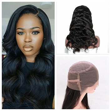 Cupidlovehair Body Wave 10A Grade Unprocessed 100% Cambodian Virgin Human Hair 360 Full Lace Frontal Wig 150% Density With A Lot Baby Hair Natural Black (22