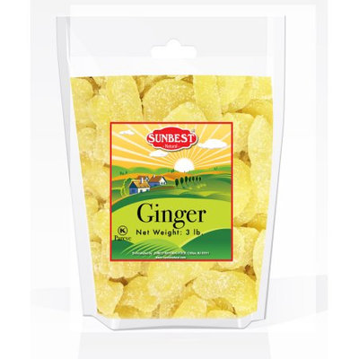 SUNBEST Dried Crystallized Ginger Slices in Resealable Bag 3 Lbs