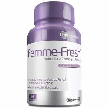 Femme-Fresh Boric Acid Vaginal Suppositories - Feminine Health Support & pH Balance - Prevents Yeast Infections, Alleviates Pain and Discomfort. Made in USA - 24 Delicate Suppositories