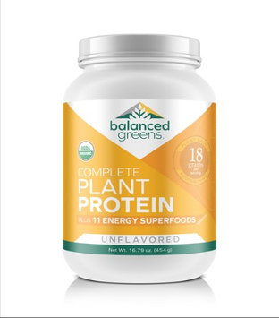 Balanced Greens Plant Protein plus 11 Energy Superfoods - Unflavored, Organic, Vegan, Gluten Free, Non GMO, Raw