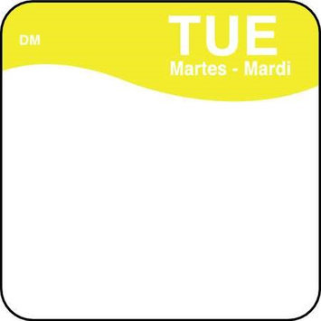 DAYMARK 1100722 Day Label, Tuesday,1 x 1 In, PK500