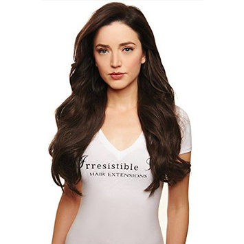 IRRESISTIBLE ME Clip in Human Hair Extensions Medium Brown (Color #4) - 100% Remy (Remi) Straight Clip ins Extension – Clips Pieces Full Head Set – Weight (Grams) and Length (Inch) (#4-22