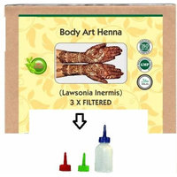 Body Art Henna (lawsonia Inermis) Triple filtered 100% Natural Chemical Free with Free Applicator Bottle js