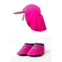 Baby Shore Feet padder shoes and Yoccoes UV Sun Hat combo Pink ages 0-2 years XS (0-6 months)