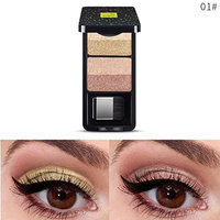 Eyeshadow Powder🌸DEESEE(TM)🌸4 Color Portable Golden Onion Waterproof Pearl Luster Subgloss Long Lasting Lightning Eye Shadow Powder with Brush and Mirror