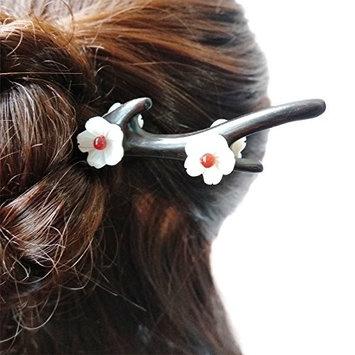 FANTAC CRAFTS Vintage White Shell Flower Hairpin Elegant Deer Antler Shape Ebony Wood Hair Stick Agate Bead Hair Jewelry Women Girl Hair Accessories