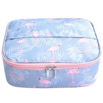 NinkyNonk Waterproof Cosmetic Bag Portable Travel Toiletry Organizer Velcro Makeup Bag Makeup Brush Organizer for Women (Flamingo)