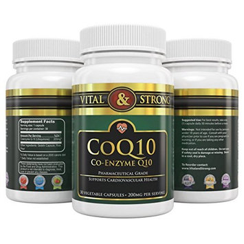 Vital & Strong CoQ10 200mg High Absorption Coenzyme 90 Count [90]