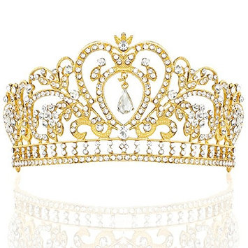 NIPOO Rhinestone Crystal Pageant Tiaras Bridal Princess Crown Party Birthday Wedding Headpieces Deco for Cake Topper,Golden