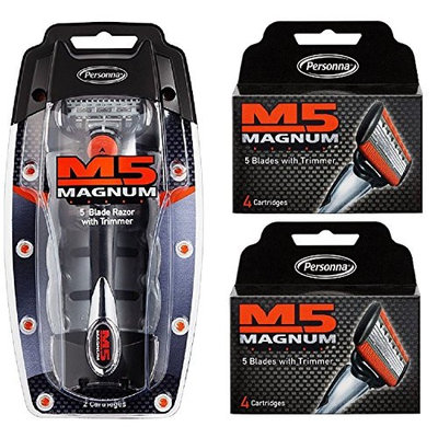 Personna M5 Magnum 5 Razor with Trimmer + M5 Magnum 5 Refill Razor Blade Cartridges, 4 ct. (Pack of 2) + FREE Schick Slim Twin ST for Sensitive Skin