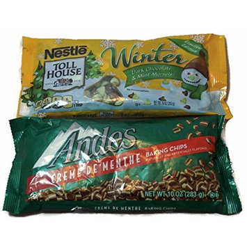 Variety Pack - Holiday Christmas Baking Mint - Toll House Winter Dark Chocolate & Mint Morsels, Andes Creme de Menthe Baking Chips -10 oz