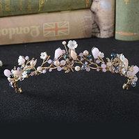 FXmimior Bridal Hair Accessories Gold Pink Flower Bead Wedding Crown Headband Women Crystal Tiara Headpiece Wedding Hair Accessories