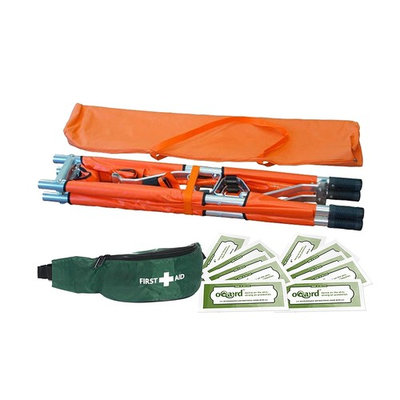 Blue Lion Two-Fold Stretcher with First Aid Bum Bag and Oqard Cleansing Wipes