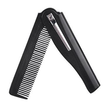 Hot Folding Clip Hair Comb Moustache Beard Hairbrush Travel Portable Pocket Men