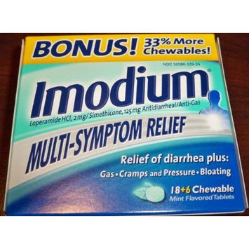 Imodium Multi Symptom Relief Chewable Tablets Mint Flavor BONUS 18 6