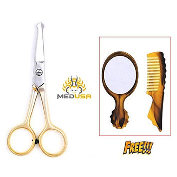 Golden Facial Hair Scissors, Eyebrow Trimmer, Grooming Scissors for Shaping, Ear, Nose, Nostril & Mustache Trimming for Men & Women