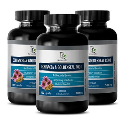 Anti yeast - ECHINACEA AND GOLDENSEAL ROOT - Goldenseal echinacea extract - 3 Bottles 300 Capsules