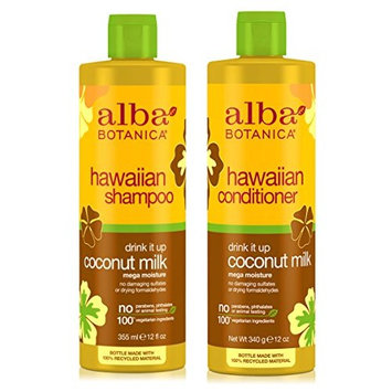 Alba Botanica Naturals Hawaiian Shampoo and Conditioner Drink It Up Coconut Milk Bundle With Aloe Vera, Pineapple, Camelia, Papaya, Quinoa Seed, Coconut, Ginger, Coumarin and Pyrifera, 12 oz. each
