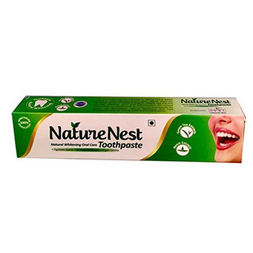 Nature Nest Herbal SLS & Fluoride Free Toothpaste - Natural Vegetarian Himalayan Green Tea & Neem extracts, Peppermint oil, Spearmint Oil, Clove...
