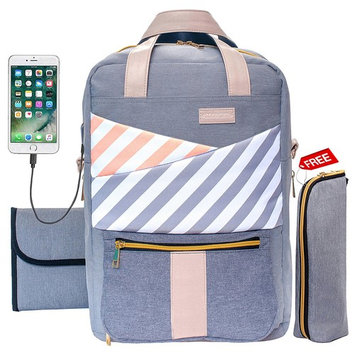 Baby Diaper Bag Backpack Large Capacity Cute Stylish Maternity Nappy Tote Bag Organizer Waterproof Travel Diaper Purse for Mom Women Dad Baby Girl Boy Twins - Changing Pad, USB Charging Port, Grey
