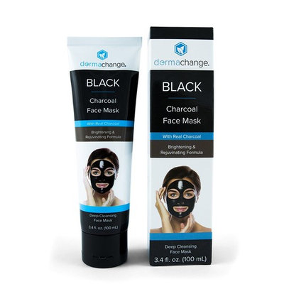 DermaChange Charcoal Peel Off Face Mask - with Vegan & Activated Charcoal - Blackhead Remover & Pore Minimizer - Deep Cleansing Black Mask - Anti Aging & Acne Spot Treatment (3.4 oz) - Made in USA