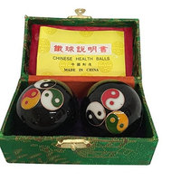 Baoding Balls Chinese health Massage Exercise Stress Balls - Black Triple YinYang #2
