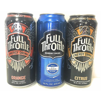 Full Throttle Energy Drink Flavor Bundle of Twelve 16 Ounce Cans: 4 Each of Blue Agave, Citrus, and Orange