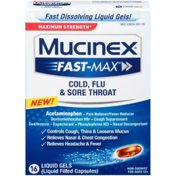Reckitt Benckiser Mucinex Fast-Max Cold, Flu, And Sore Throat Caplets, 16 Ct