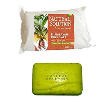 Natural Solution Himalayan Pink Salt Face and Body Bar Green Tea and Olive(20.8 Oz/ 1.3lbs)- 4Pack