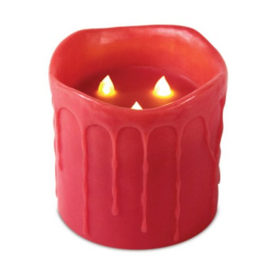 Cc Christmas 6 x 6 Red Flameless Dripping Wax 3 Flame LED Pillar Candle w/Timers