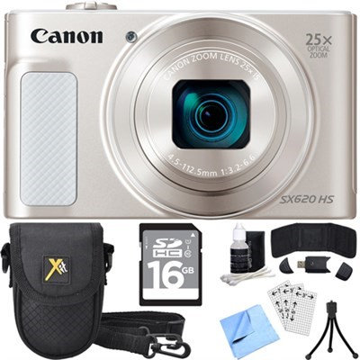 Canon PowerShot SX620 HS 20.2MP Digital Camera Silver w/ Essential Accessory Bundle