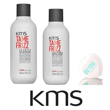 KMS Tame Frizz Shampoo & Conditioner DUO Set with Sleek Compact Mirror (10.1 oz + 8.5 oz DUO Kit)