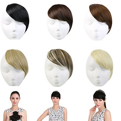 SARLA Clip in Hair Bangs Fringe Hair Extensions Swept Full Sweeping Side Synthetic Hairpiece Hair Piece For Women Japan High Temperature Fiber(B2#16/22)