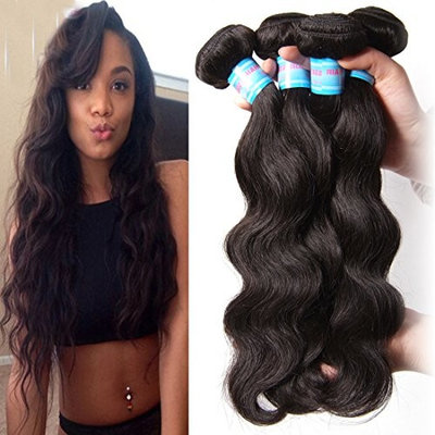 Jolia Hair 7a Grade Virgin Brazilian Body Wave Hair 3 Bundles 100% Unprocessed Human Hair Weave Extensions Can Be Dyed and Bleached (12 14 16, Natural Black Color)