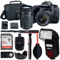 Canon EOS 77D Digital SLR Camera with Canon EF-S 18-55mm f/4-5.6 IS STM Lens + Canon EF-S 55-250mm f/4-5.6 IS STM Lens + Accessory Bundle (11 Items)