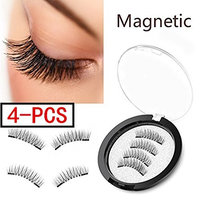 (4 Pieces) Magnet Eyelashes-Dual Magnetic False Eyelashes with NO GLUE 3D Fiber Reusable Best Fake Lashes Extension for Natural Look, Perfect for Deep Set Eyes : Beauty