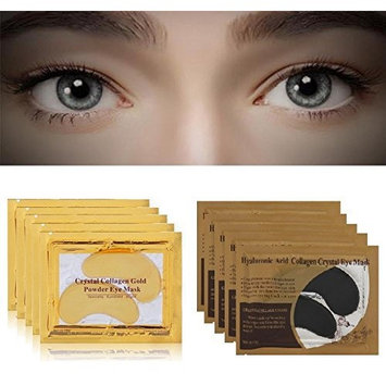 10 Pairs Crystal Collagen Cold Powder Eye Masks, 5Pcs Gold & 5Pcs Black, Eyelid Patch Circle Under Eye Treatment Pad Patches Masks Bag, Anti Ageing Wrinkle, Remove Dark Circles