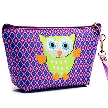 Aurorax Women Portable Owl Cosmetic Case Pouch Zip Toiletry Organizer Travel Makeup Clutch Bag