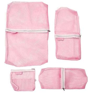 THZY 4pcs Nylon travel bag Inner bag pannier Insert Travel Organizer Pink
