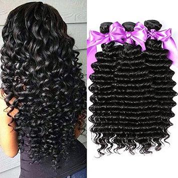 Dream Like 10A Brazilian Hair 3 Bundles Unprocessed Deep Wave Virgin Human Hair Weave Bundles Wet and Wavy Human Hair Bundles Deals Natural Color Hair Extensions (18 20 22 inch)