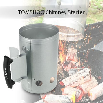 TOMSHOO BBQ Chimney Starter Charcoal Lighter Coal Starter Camping Picnic Outdoor Use